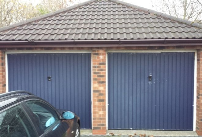 Twin Garage Doors (Before)